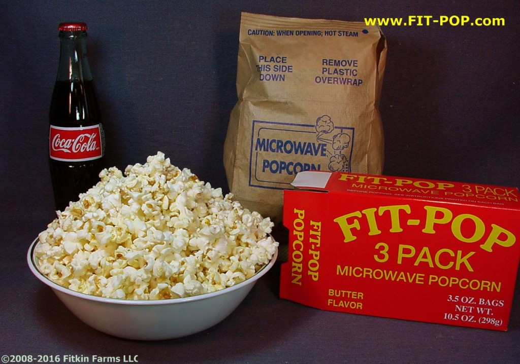 Bowl of FIT-POP Yellow Microwave Popcorn Bowl & a Coke