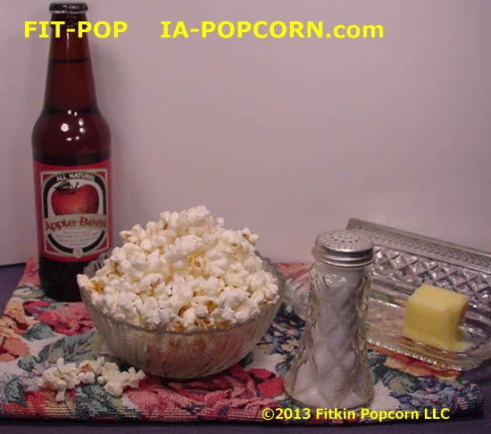 Bowl of FIT-POP Yellow Popcorn & Apple Beer